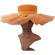 Vintage 1950s Hat | 50s Hat | Peach Hat | Wide Brim Hat | Double Layer Brim Hat | 1950s Vintage Hat