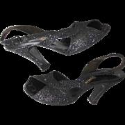Vintage 1940s Heels | I. Miller Heels | Black Glitter Heels | Slingback Heels | Open Toe Slingbacks | 40s Heels