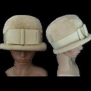Vintage 1950s Hat   Front Bow Hat   50s Hat   Beige Hat   Designer Hat   Femme Fatale Hat   Dress Hat  