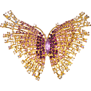 Rhinestone Butterfly Brooch Purple Lavender Big Dynamic Garden Party Mad Men Rockabilly Gown Prom Dress Designer