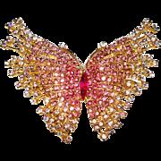 Rhinestone Butterfly Brooch Pink Big Dynamic Garden Party Mad Man Rockabilly Gown Prom Dress Designer