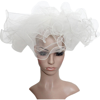 Vintage 1940s Hat | Large Brim Hat | Layered Hat | 40s Hat | Creme Hat | Wedding Hat