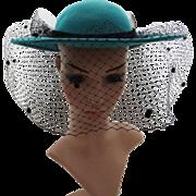 Vintage 1970s Hat   Vintage Hat   Aqua Hat   70s Hat   Black Veil Hat   Doeskin Felt Hat