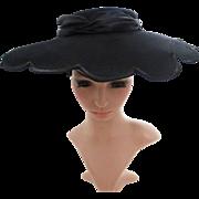 Vintage 1940s Hat | Black Hat | Scalloped Hat | 40s Hat | 1940s Designer Hat | 40s Black Hat | Large Brim Hat