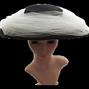 Vintage 1950s Hat   50s Black Hat   50s Hat   Netting Hat   1950s Black Hat   Large Brim Hat