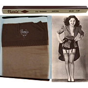 Vintage Stockings//Nylons//Hosiery//Original Box//Phoenix// Designer//Bombshell//3 Pair//Size 9 & 1/2//Stock Control Card//Mocha