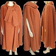 Vintage Designer Cape   Salmon Wool Cape   George David Cape   1970s Cape   70s Cape   Wool Cape   Vintage Cape   Plus Size Cape