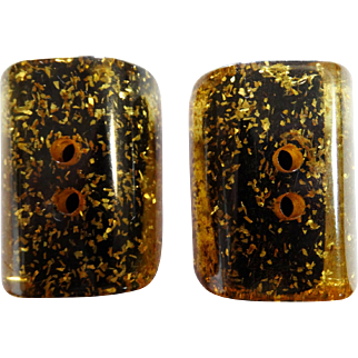 Lucite Confetti Buttons | Lucite Buttons | 1940s Lucite Buttons | Pair of 2 Buttons | Gold Lucite Confetti Buttons | 40s Lucite Buttons |