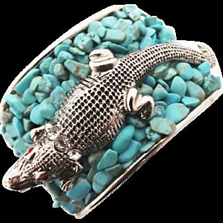 Cuff Bracelet//Alligator//Huge//Bold//Ornate//Ornate//Silver Setting