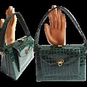 Vintage 1940s Purse | Green Purse | Faux Alligator Purse | 40s Green Purse | Faux Green Alligator Purse |