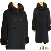 Vintage Coat BROWN MINK Trim | 1960s Black Coat | Full Length Coat | Mink Collar | Mink Cuffs | High Fashion | Mod | New Look