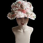 Vintage 1950s Hat | Floral Hat | Designer Hat | Noreen Fashion Hat | 50s Hat | Flower Hat