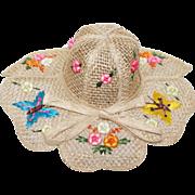 Vintage 1960s Hat | Straw Hat | Butterfly Hat | 60s Hat | Floral Hat | Puffed Floral Hat | Large Brim Hat | Vintage Hat | 60s Hat