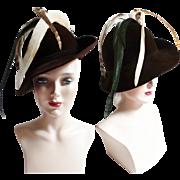 Vintage 1940s Hat | Brown Hat | Feathered Hat | Designer Hat | Original Hat | 40s Hat