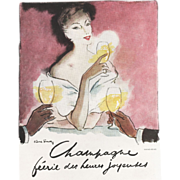 Original Vintage French Champagne Alcohol Print