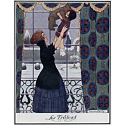 Mother's Day Perfect!  Original Art Deco French Print of Mother and Daughter