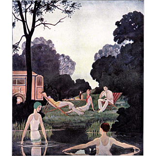 Vintage print of Art Deco swimmers