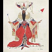 Original Leon Bakst Russian Ballet costume design