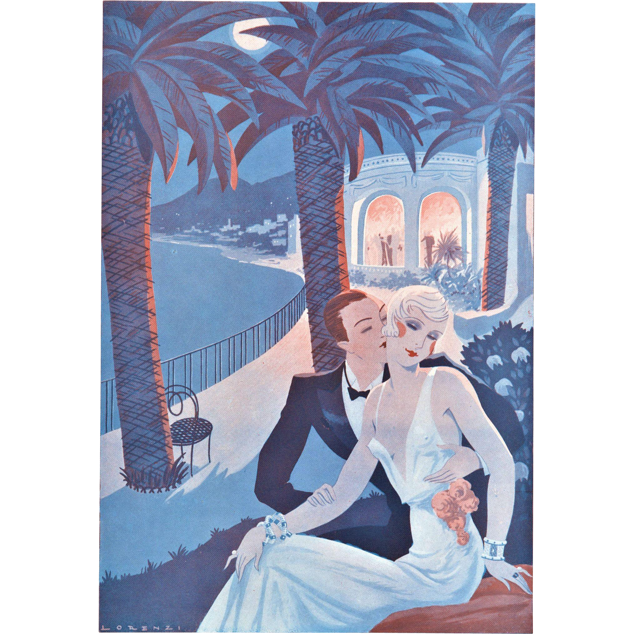 Vintage valentine art deco lovers print from yoshagraphics for Art deco era dates