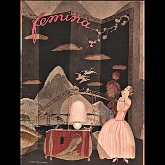 RARE Art Deco Fashion Lithograph