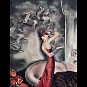 Art Deco Lithograph Print of elegant woman
