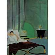 Art Deco Lithograph-Woman Lounging in Bed