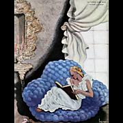 Art Deco Lithograph-woman reading by LaPape