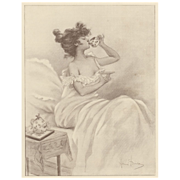 Art Nouveau Lithograph Print of Woman drinking tea by Henri Boutet - Red Tag Sale Item