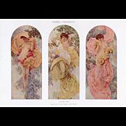 Original Art Nouveau lithograph semi-nude women