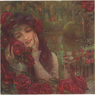 Original Vintage Art Nouveau print woman with Roses