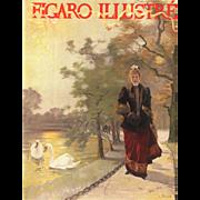 Art Nouveau woman at lakeside print