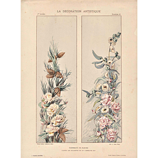 1900 French Art Nouveau Lithograph-Roses