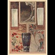 1900 Art Nouveau Design Chromolithograth - Red Tag Sale Item