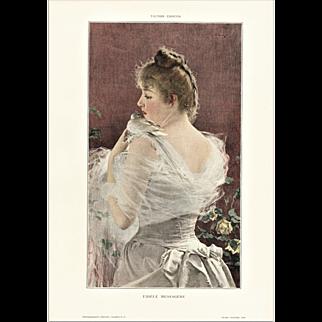 Art Nouveau Lithograph-Woman with Dove