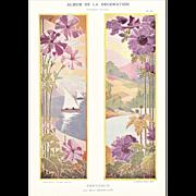 Art Nouveau Pastoral Lithograph c1900
