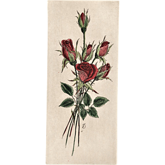 Original French Botanical Bouquet Lithograph-ROSES