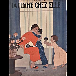 Art Deco Mother & Children Print