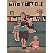 Mother & children reading-Print