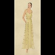Original Art Deco Fashion Drawing - Red Tag Sale Item