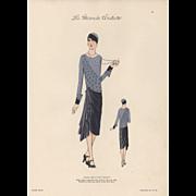 Vintage late 1920's Art Deco Couture Fashion Print