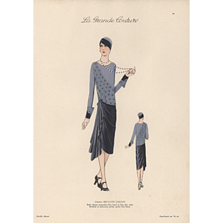 Vintage late 1920's Art Deco Couture Fashion Print