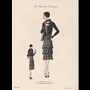 "Vintage late 1920""s Art Deco couture fashion print"