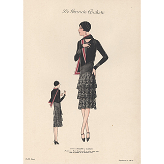 "Vintage late 1920""s Art Deco couture fashion print"