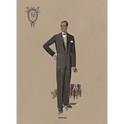 Original 1920's  Men's Tuxedo French Fashion Print