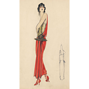 Original watercolor and ink Art Deco Fashion Drawing