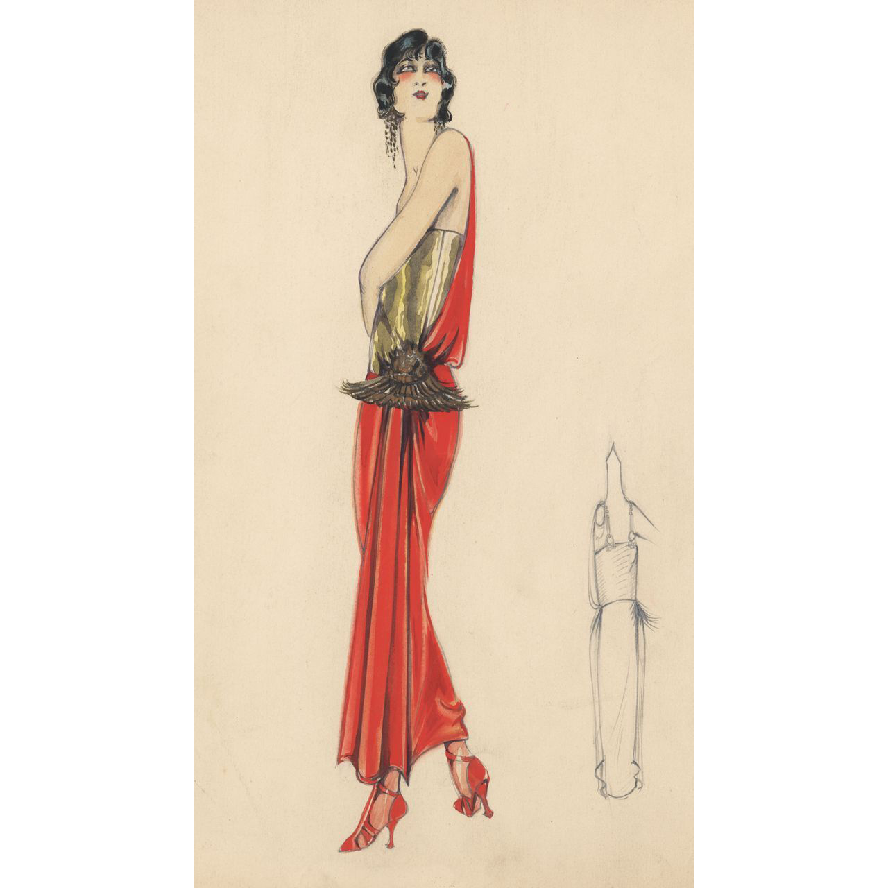 Original watercolor and ink art deco fashion drawing from for Art deco trend