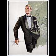 Father's Day!Mad Men! Original 1958 men's tuxedo fashion illustration print