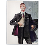 Father's Day!Mad Men! Original 1958 men's vested suit,formal wear fashion illustration print