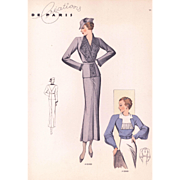 vintage French Art Deco fashion illustration print