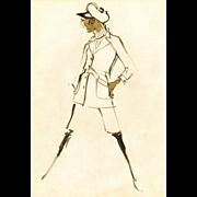Original Balmain Fashion Drawing